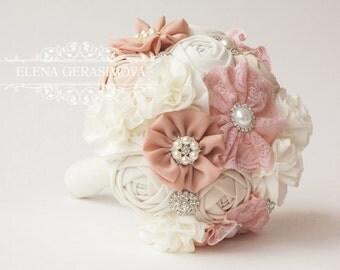 Fabric Bouquet, ivory and blush pink Vintage Bouquet, Rustic Bouquet, Unique Wedding Bridal Bouquet