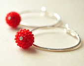Silver Hoop Earrings, Hoop Earrings, Hoop Earrings with Red Beads,Silver Earrings