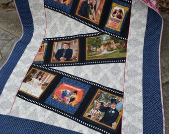 Handmade Cotton Quilt Gone With The Wind Themed Blanket Throw Movie Strip Memory Appliqued Magnolia 75th Anniversary Edition Quilt