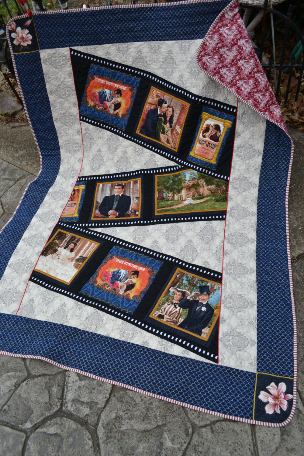 Handmade Cotton Quilt Gone With The Wind Themed Blanket Throw