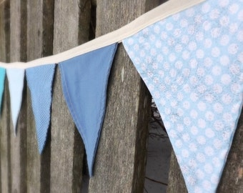 Baby Blue bunting banner garland nursery decor pendant flags polka dot baby shower gift ideas photo prop