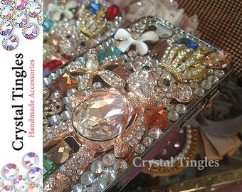 2016 Classic Sparkle 3D Prince Teddy Bear Daisy Flower Jewelry Cover Case Made with Glass Rhinestone Crystals For iPhone 5S Bling