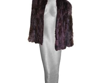 1950s Fur Jacket, Burgundy Dyed Rabbit & Fox