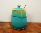 Turquoise Pottery Honey Pot,  Ceramic Lidded Jar