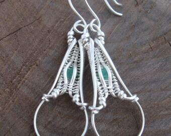 Wire Wrap Earrings - Emerald Earrings -  Wire Wrapped Earrings - Wire Wrap - Heady Wrap