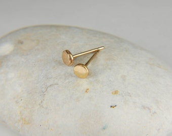 Small Gold Studs 3.5 mm Gold Minimalist Earrings 14K Gold Stud Earrings Gold Nugget Earrings