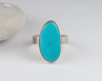 Turquoise Ring Metalwork Ring Large Silver Ring Artisan Ring Wide Band Ring Southwestern Jewelry Turquoise Jewelry