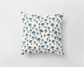 Woodland Mushrooms Pillow Cushion Cover, Forest Botanical Wonderland Blue & Nude | Made to Order | Ships in 4-6 weeks