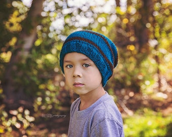 Little Hipster knit slouch beanie in Mallard Toddler and Child size