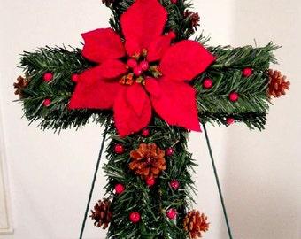 Christmas Gravesite Memorial Cross , Cemetery Flowers , Christmas Flowers , Funeral Flowers , Memorial Flowers