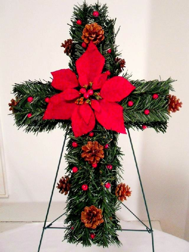 Christmas gravesite memorial cross cemetery flowers for California floral and home christmas decorations