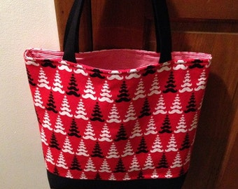 Red Tote, Merry Mustaches, Market Bag, Moustache Trees, Book Bag, Travel Tote, Robert Kaufman Fabric, Work Tote, Trees