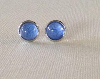 Stud Earrings,Glass Cabochon,Blue Studs,10mm, Dot Earrings