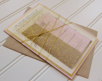 Gold and Blush Invitations: Unique Handmade Wedding Invitations. Handmade. Shabby Chic Wedding. Feminine.