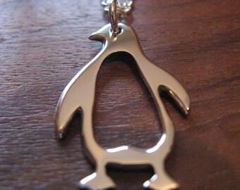 Argentium Silver Penguin Pendant Necklace Handmade