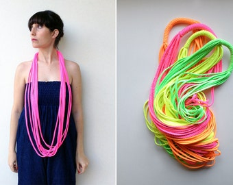 Neon necklace, colorful necklace, gift ideas, braided necklace - The braided noodle - handmade in neon fabric