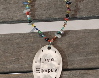 LIVE LIMPLY hand stamped Spoon Ornament with BEADED ring Wine Bottle Tie On Label
