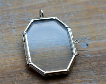 SILVER Glass Frame Pendant OCTAGON Shape Double Sided Glass Hinged Locket Picture Frame Pendant Charm Jewelry Pendant (BD019)