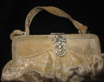 80's Cream Velvet  Diamonte Clasp Evening Purse with Mirror