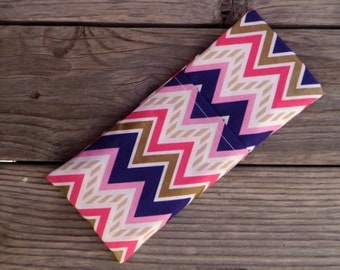 Gold Pink and Purple Chevron, Travel Curling Iron Case, Flat Iron Cooling Case