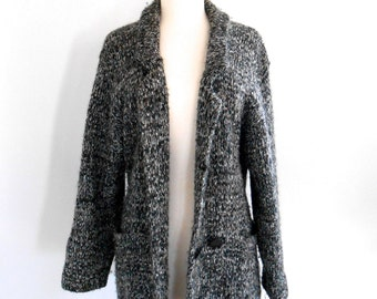 SALE Boyfriend Sweater Cardigan oversized Medium Knit  grey vintage jersey knit womens vtg