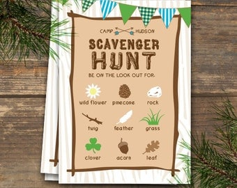 Scavenger Hunt - Camp Theme Printable - Blue & Green