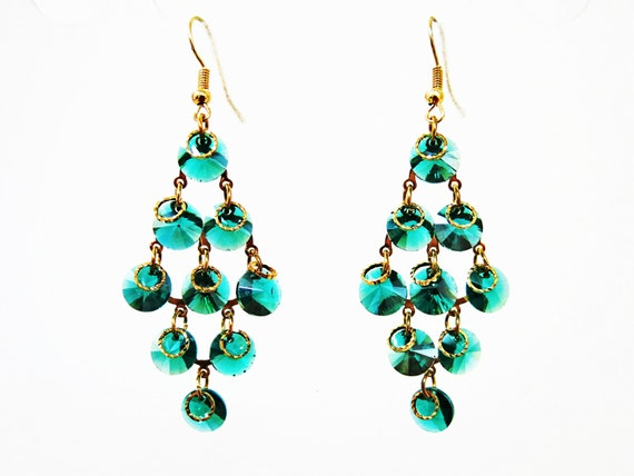 Blue Green Crystal Chandelier Earrings Colorful by susysshop