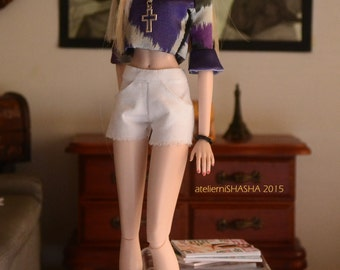MADE TO ORDER - Cropped Top in Graphic Satin Shades of Violet for 12in Fashion Dolls