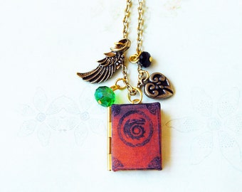 Book of dragons, bookish locket necklace
