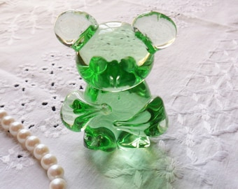 Green Glass Mouse, Lead Crystal Mouse Figurine, Commemorative Fine Arts Gallery Paperweight