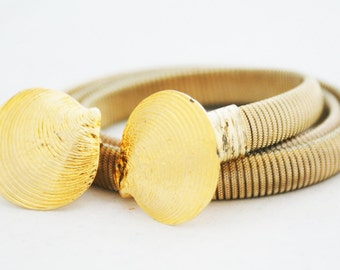 Belt - Gold Scallop Shell Stretch Small Waist Nautical