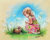 Children original painting BABY BUNNY pastel, girl and rabbit, kids art  nursery decor 12x16  Artist Laurie Shanholtzer