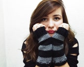 Hand Knitted Fingerless Gloves Striped Gray Black - Gloves & Mittens, Gift Ideas, For Her, Winter Accessories, Xmas Gift, Holiday Gift