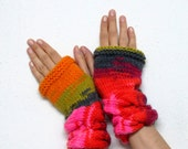 Knitted Mittens Women's Winter Cozy Fingerless Gloves Multicolor, Fingerless Gloves, cable knit Gloves, Gloves Teens, Gloves Mittens