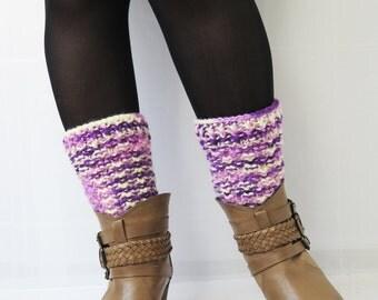 Women's Boot Cuffs in purple, Knitted Boot Cuffs, Boot Toppers, Chunky Leg Warmers, Winter Accessories, Knit Legwear, Tweed Knits, Cuffs