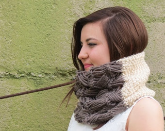 The Color Block Cowl - Chunky Scarf, Circular Scarf, Wrapped Up, Winter Accessory, Fashion Scarves, Cozy Cowl, Taupe Ecru Scarf, Texturable