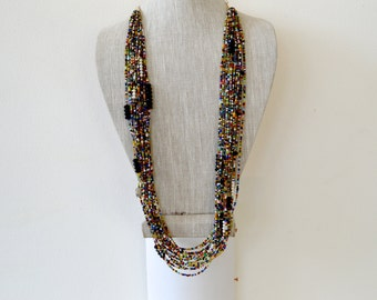 African necklace, Multistrand layered long necklace, African jewelry, African necklace, Long necklace, Tribal necklace, Beaded necklace