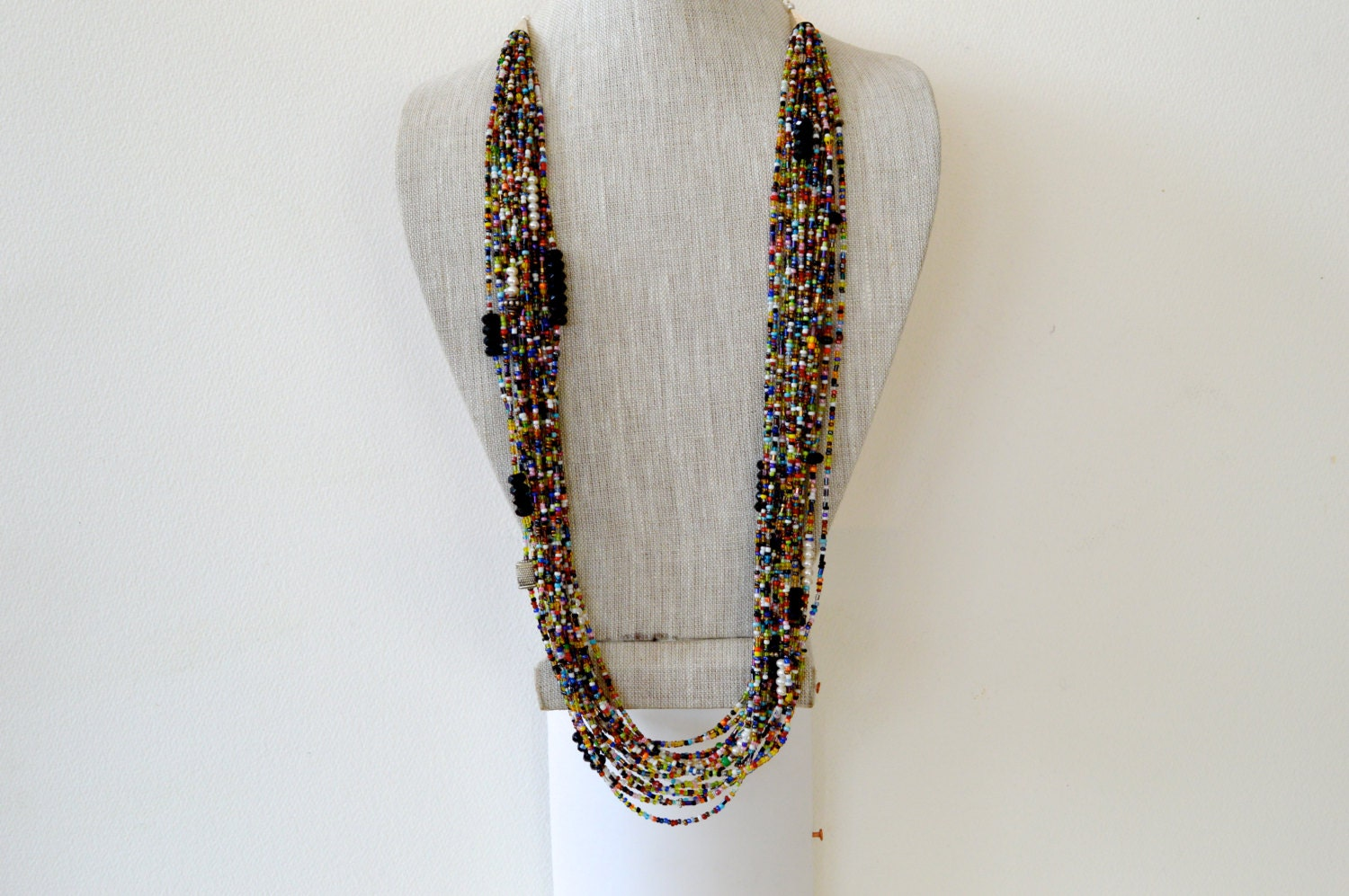 african necklace multistrand layered long necklace african. Black Bedroom Furniture Sets. Home Design Ideas