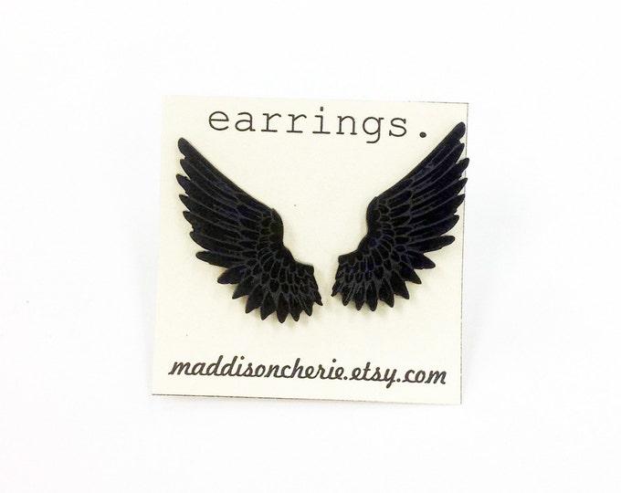 Feathered Wings Earrings   Laser Cut Jewlery   Hypoallergenic Studs