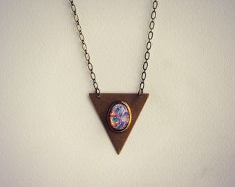 triangle pink opal necklace, geometric necklace, triangle jewelry, opal necklace, boho necklace,