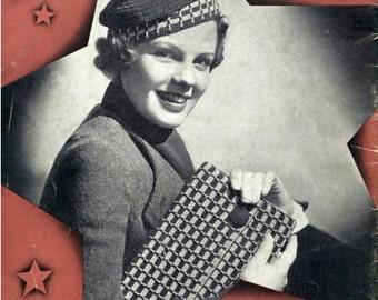 1930s Breton Beret Hat and Bag Ensemble - 2 Crochet patterns PDF 3712