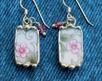 Earrings, Broken China Jewelry, Broken China Earrings, Pink Floral China, Sterling Silver