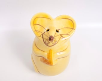 Vintage Mouse Cheese Shaker Parmesan N S Gustin Golden Yellow Glazed Ceramic Whimsical Mouse Cheese Dispenser