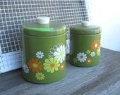 2 Avocado Green Tin Canisters  with Daisies - Mod Daisy Graphic Canisters - 1970s Retro Green Canisters - Tin Storage Kitchen Canisters