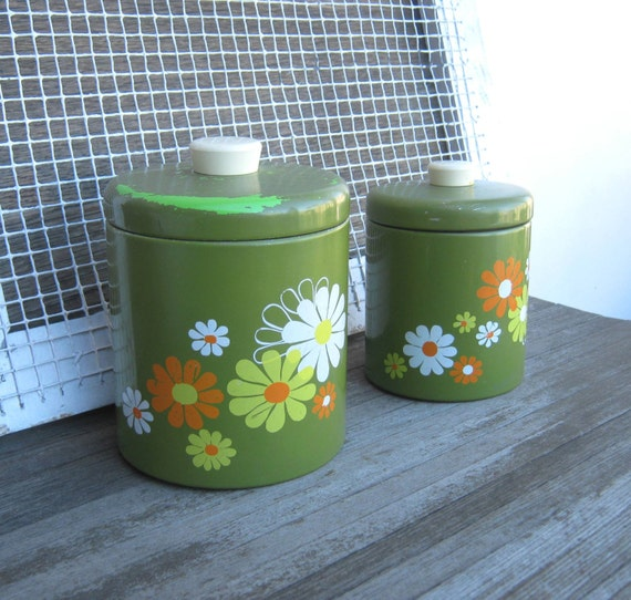 1970s Mod Avocado Green Canisters with Daisies - Retro Green Tin Craft/Kitchen Storage Canisters