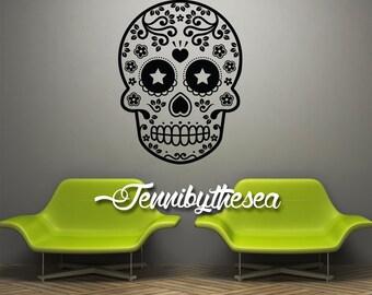 Calavera Wall Decal Vinyl Sticker Sugar Skull Decal Dia de los Muertos art #1