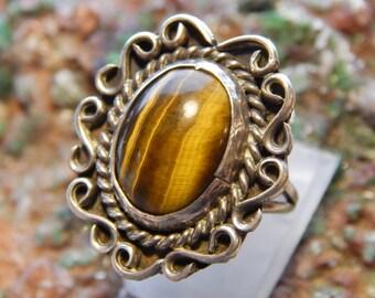 Native American Sterling Tiger Eye Ring