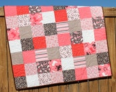 Pink Cowgirl Baby Girl Quilt, Western, Rodoe, Cowboy, Brown, White, Red, Horse, Horseshoe, Paisley, Floral, Handmade Blanket