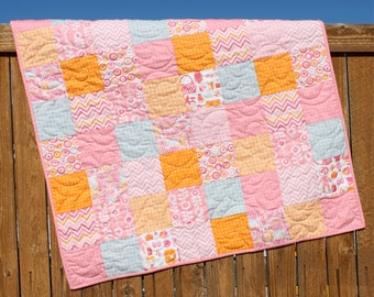 Pink Baby Girl Quilt, Baby Quilt, Orange, Gray, Pastel, Polka Dots, Nursery Bedding, From Bump To Baby, Charm, Handmade, Baby Blanket