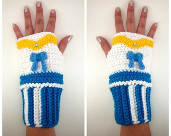 Original Sailor Mercury Inspired Geeky Gauntlets. Wristwarmers. Ami Amy Scout Fingerless Glove. Super Hero Series. Crochet Manga. Cosplay.
